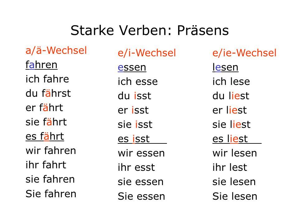 schwache verben zwakke werkwoorden starke verben sterke