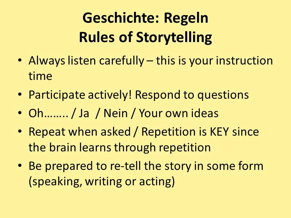 Geschichte: Regeln Rules of Storytelling