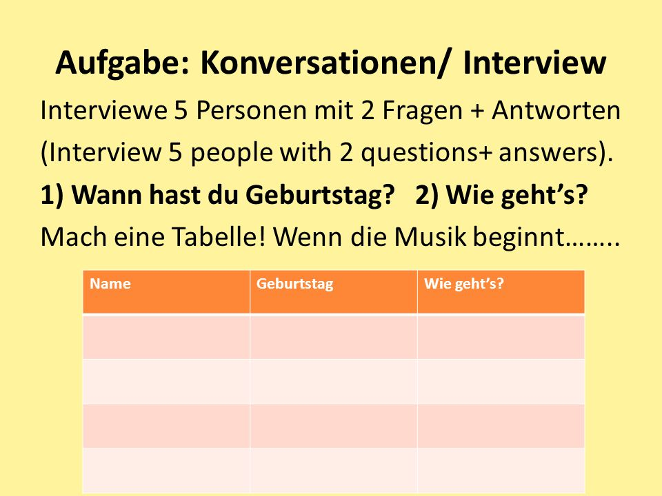 Aufgabe: Konversationen/ Interview