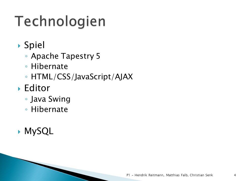 Technologien Spiel Editor MySQL Apache Tapestry 5 Hibernate