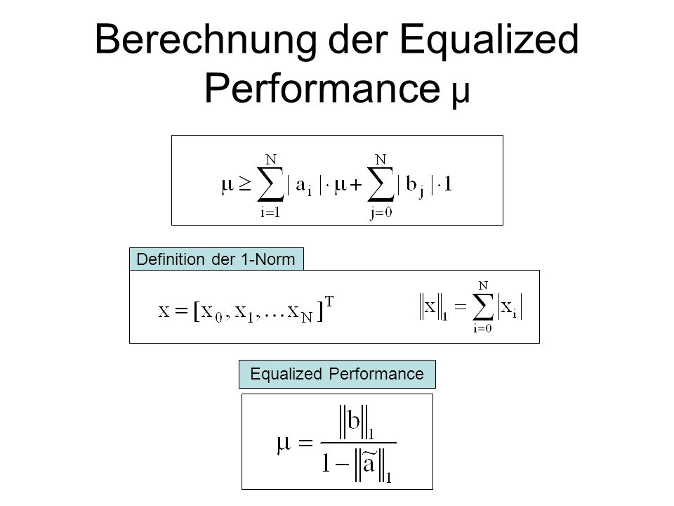Berechnung der Equalized Performance μ