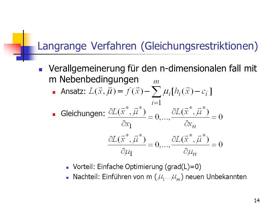 Langrange Verfahren (Gleichungsrestriktionen)