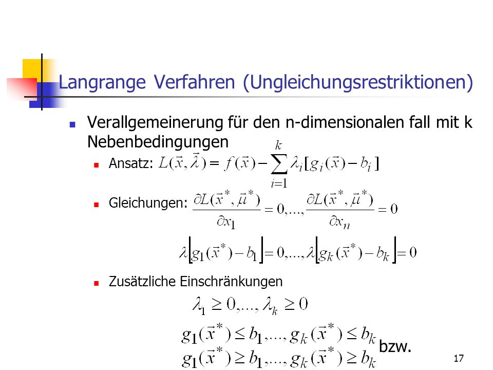 Langrange Verfahren (Ungleichungsrestriktionen)