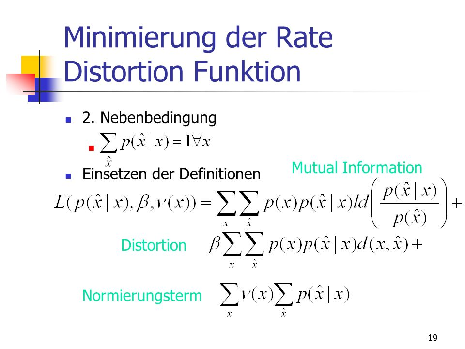 Minimierung der Rate Distortion Funktion
