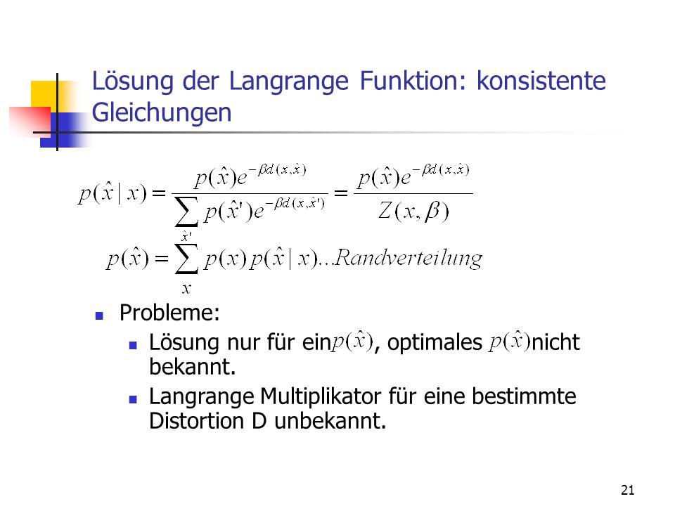 Lösung der Langrange Funktion: konsistente Gleichungen