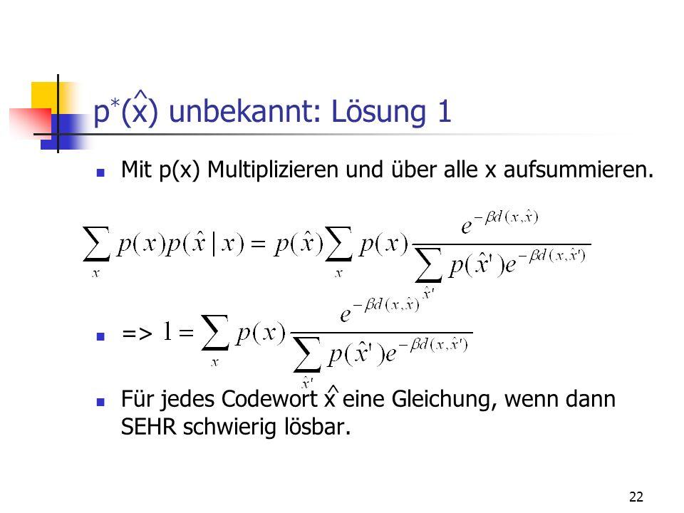 p*(x) unbekannt: Lösung 1