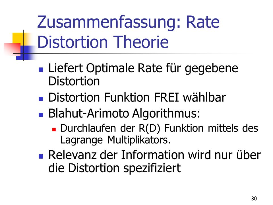 Zusammenfassung: Rate Distortion Theorie