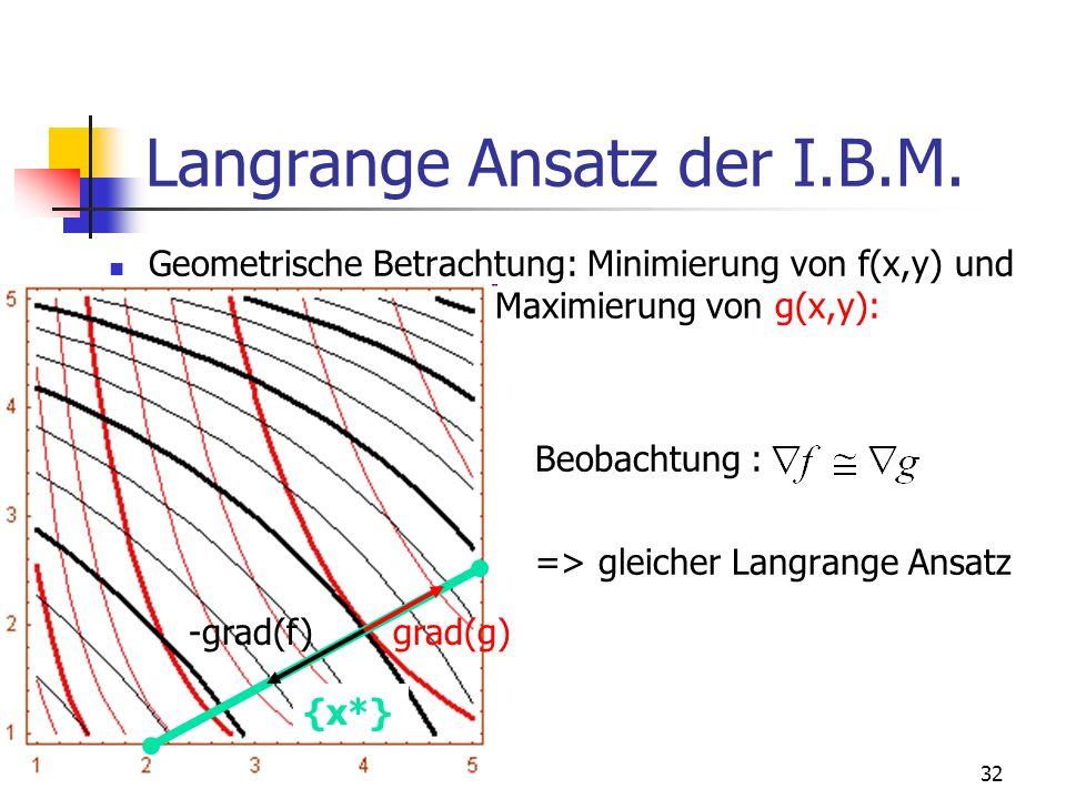 Langrange Ansatz der I.B.M.