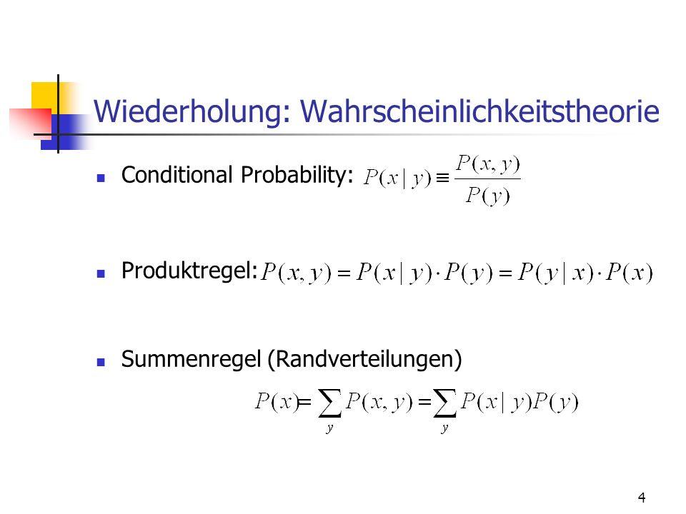 Wiederholung: Wahrscheinlichkeitstheorie