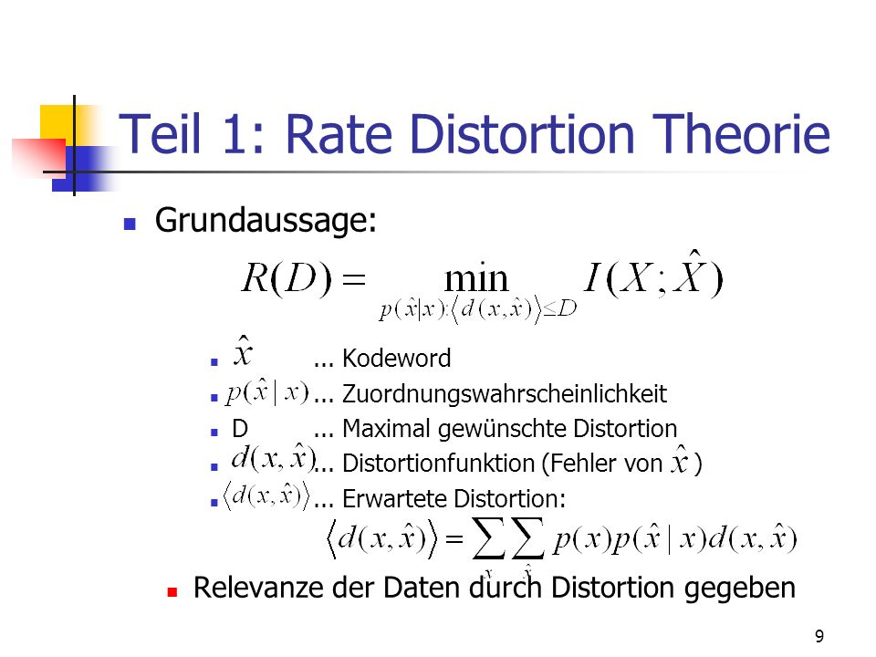 Teil 1: Rate Distortion Theorie