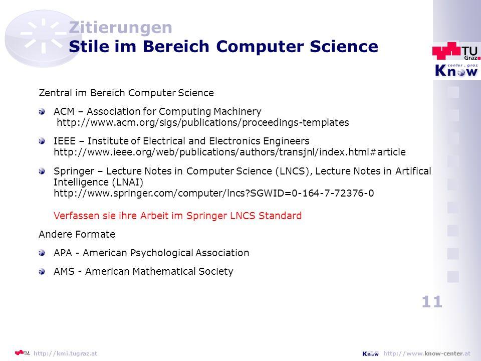 Zitierungen Stile im Bereich Computer Science