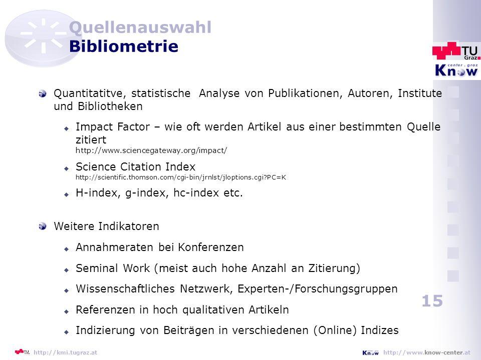 Quellenauswahl Bibliometrie