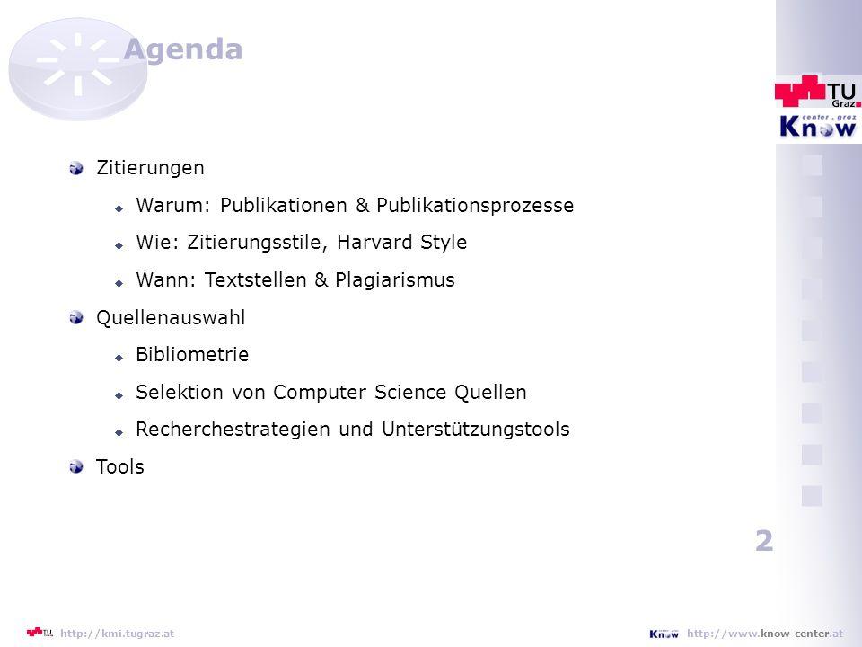 Agenda Zitierungen Warum: Publikationen & Publikationsprozesse