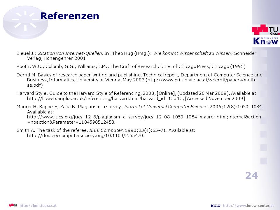 Referenzen Bleuel J.: Zitation von Internet-Quellen. In: Theo Hug (Hrsg.): Wie kommt Wissenschaft zu Wissen Schneider Verlag, Hohengehren 2001.