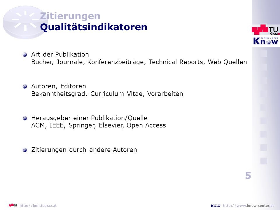 Zitierungen Qualitätsindikatoren