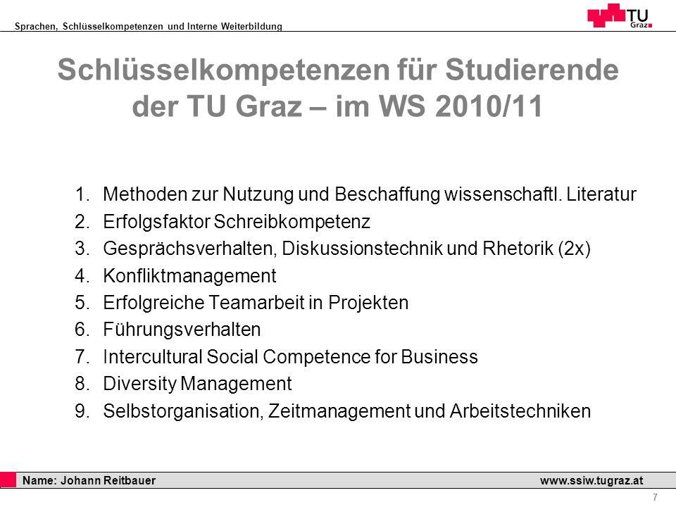 Schlüsselkompetenzen für Studierende der TU Graz – im WS 2010/11