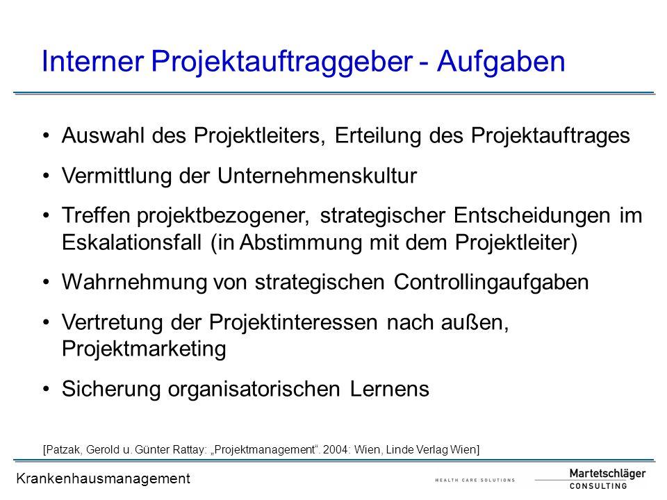 Interner Projektauftraggeber - Aufgaben