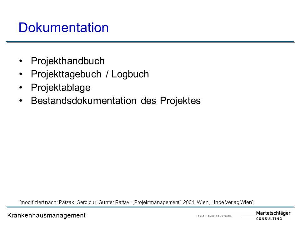 Dokumentation Projekthandbuch Projekttagebuch / Logbuch Projektablage