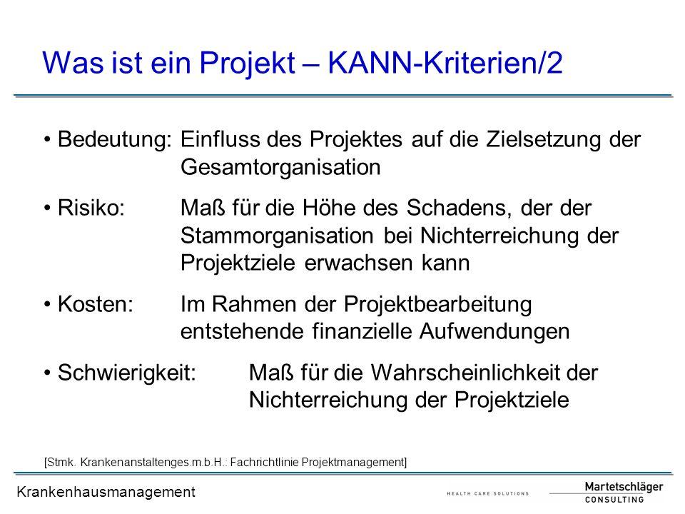 Was ist ein Projekt – KANN-Kriterien/2