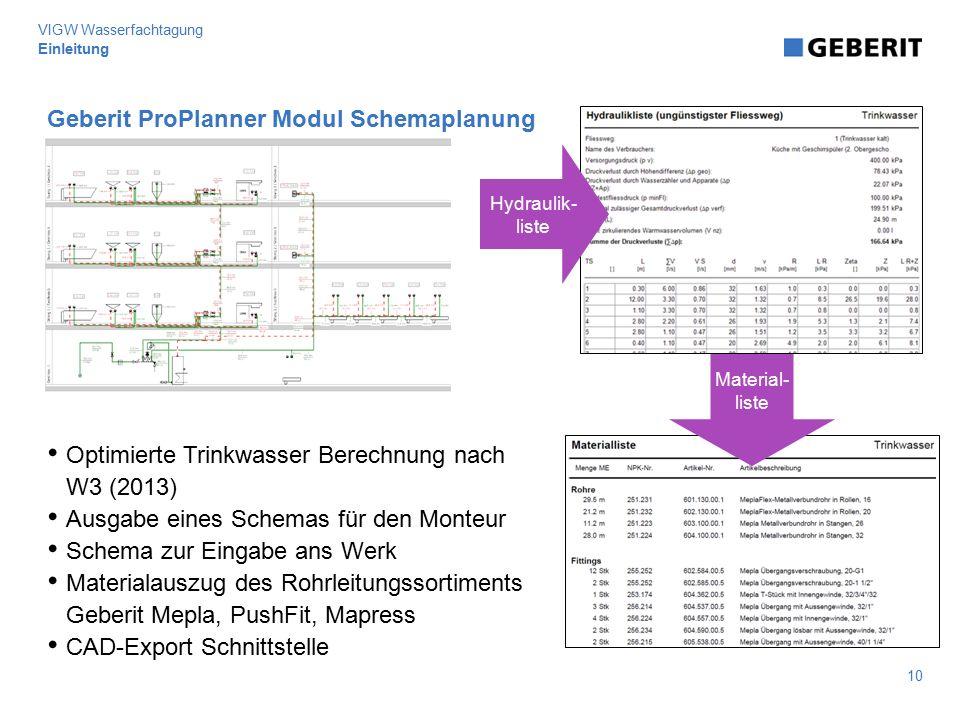 Geberit ProPlanner Modul Schemaplanung