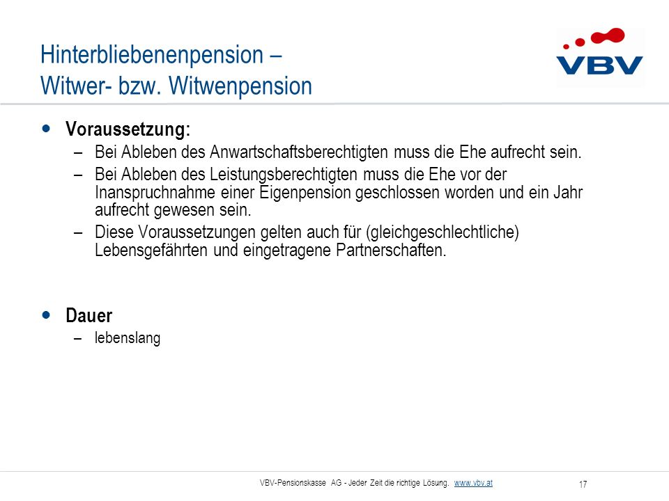 Hinterbliebenenpension – Witwer- bzw. Witwenpension