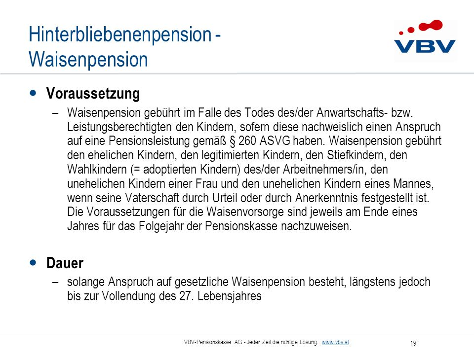 Hinterbliebenenpension - Waisenpension