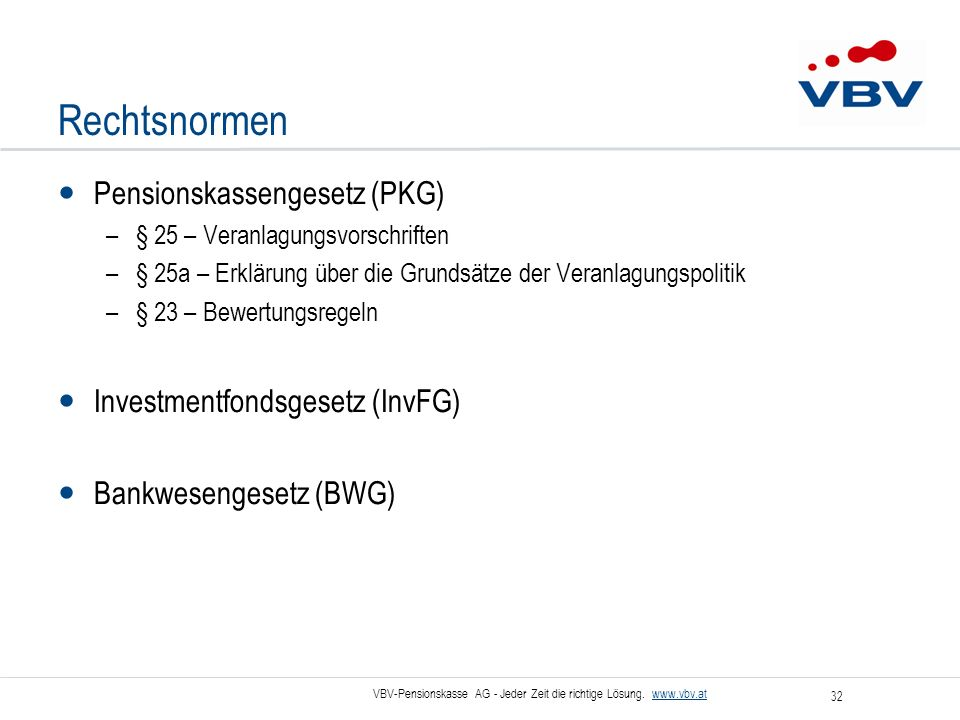 Rechtsnormen Pensionskassengesetz (PKG) Investmentfondsgesetz (InvFG)