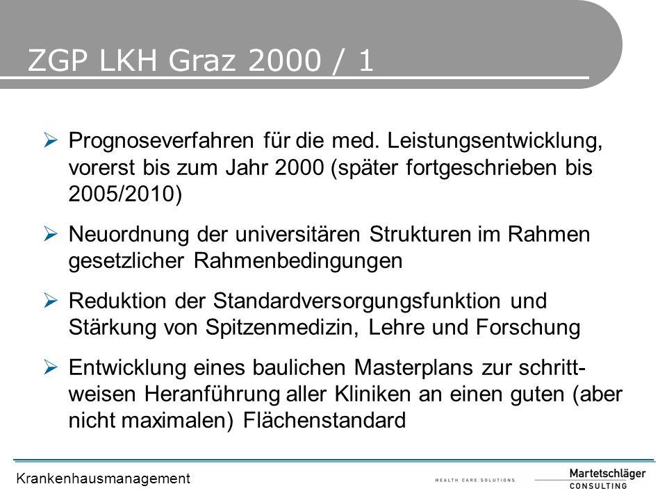 ZGP LKH Graz 2000 / 1 Prognoseverfahren für die med. Leistungsentwicklung, vorerst bis zum Jahr 2000 (später fortgeschrieben bis 2005/2010)