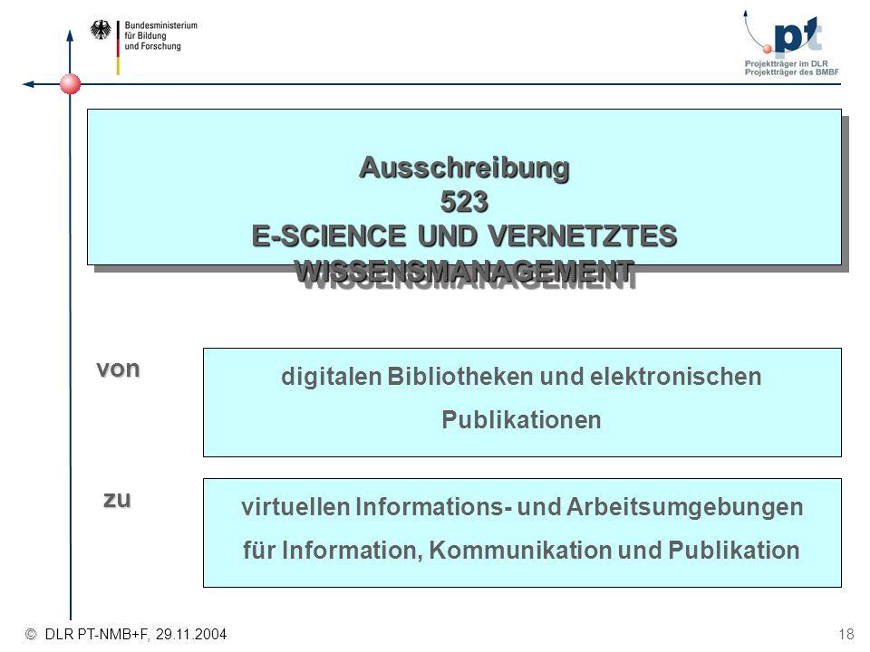 Ausschreibung 523 E-SCIENCE UND VERNETZTES WISSENSMANAGEMENT