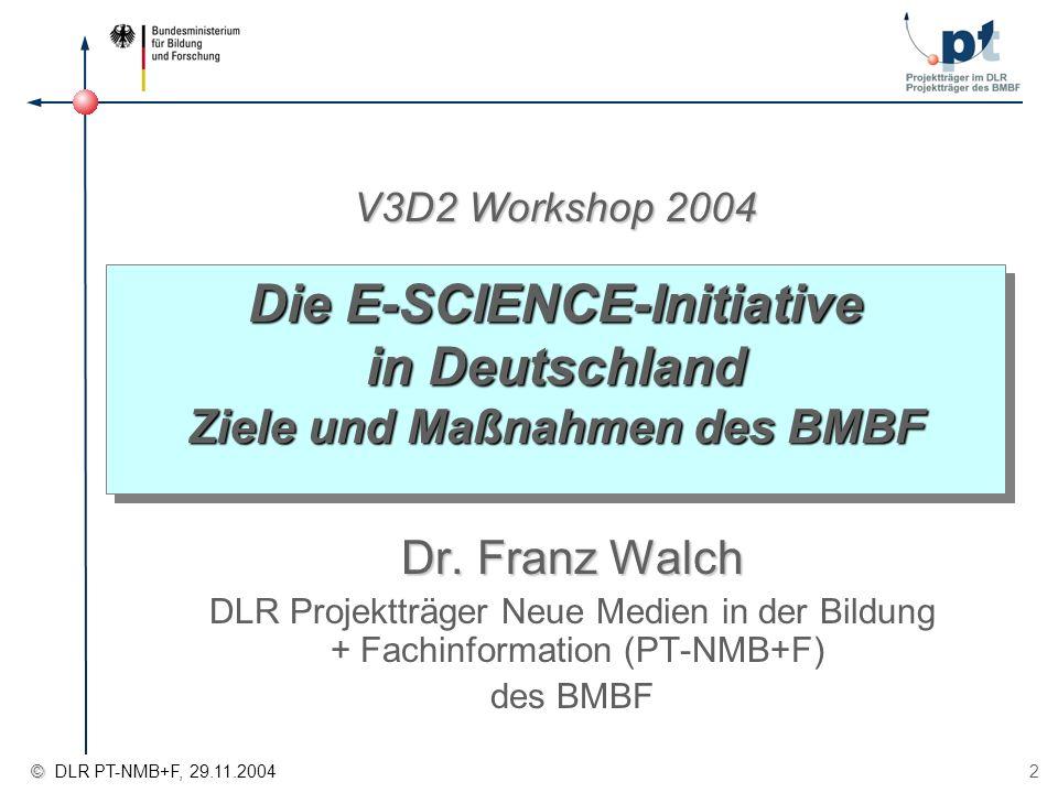 Die E-SCIENCE-Initiative in Deutschland Ziele und Maßnahmen des BMBF