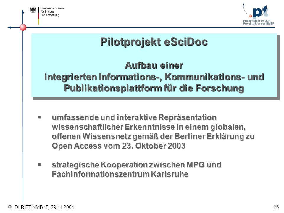 Pilotprojekt eSciDoc Aufbau einer integrierten Informations-, Kommunikations- und Publikationsplattform für die Forschung