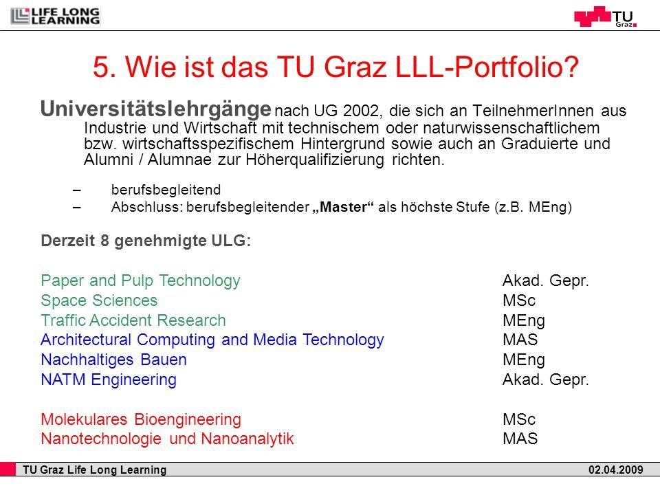 5. Wie ist das TU Graz LLL-Portfolio