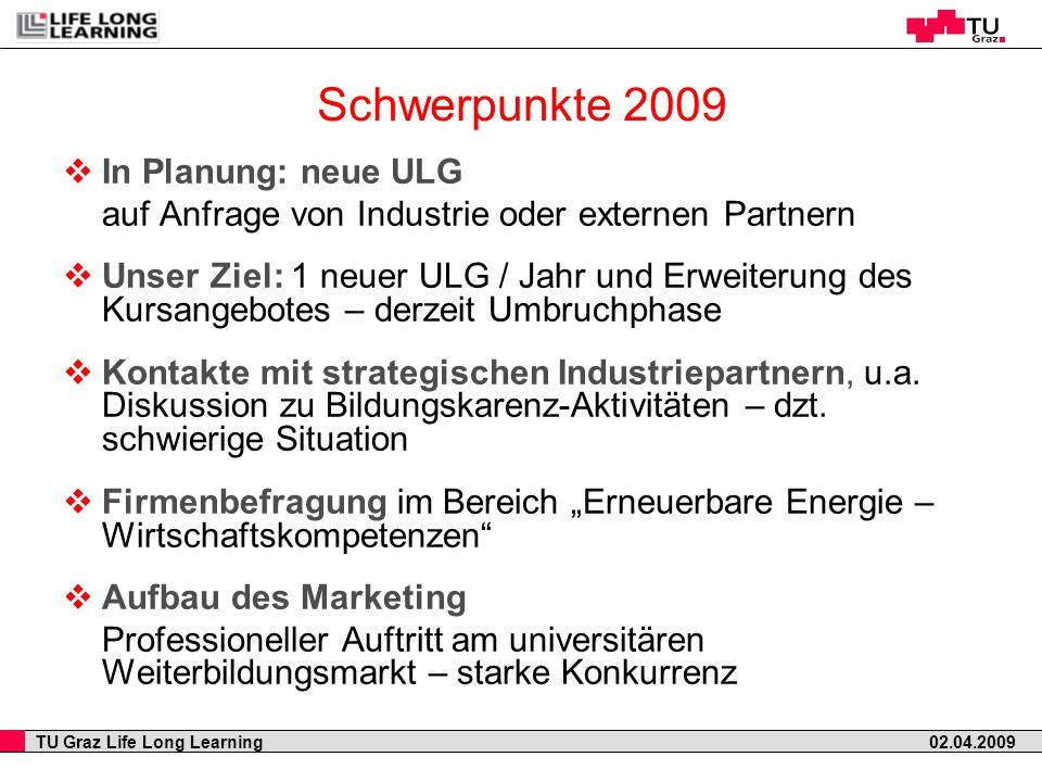 Schwerpunkte 2009 In Planung: neue ULG