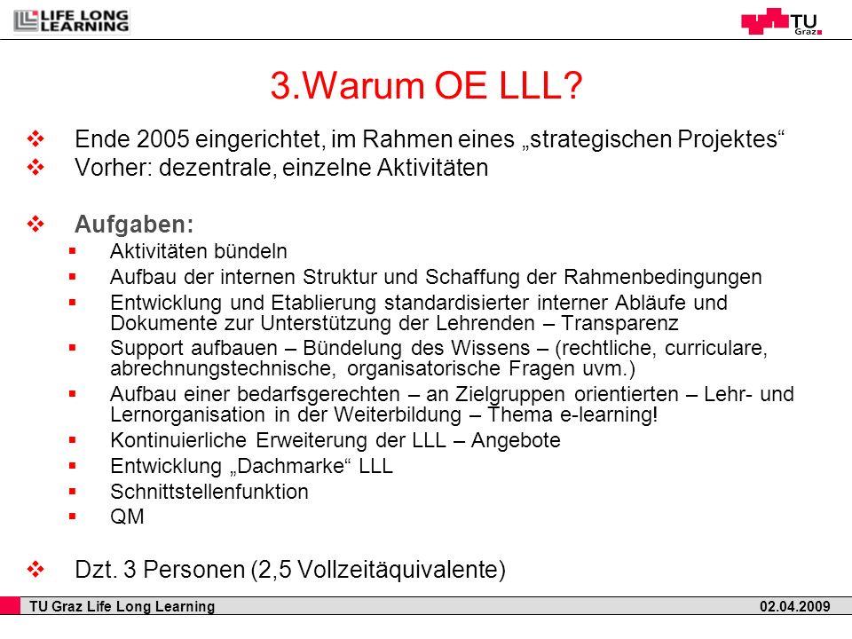 """3.Warum OE LLL Ende 2005 eingerichtet, im Rahmen eines """"strategischen Projektes Vorher: dezentrale, einzelne Aktivitäten."""