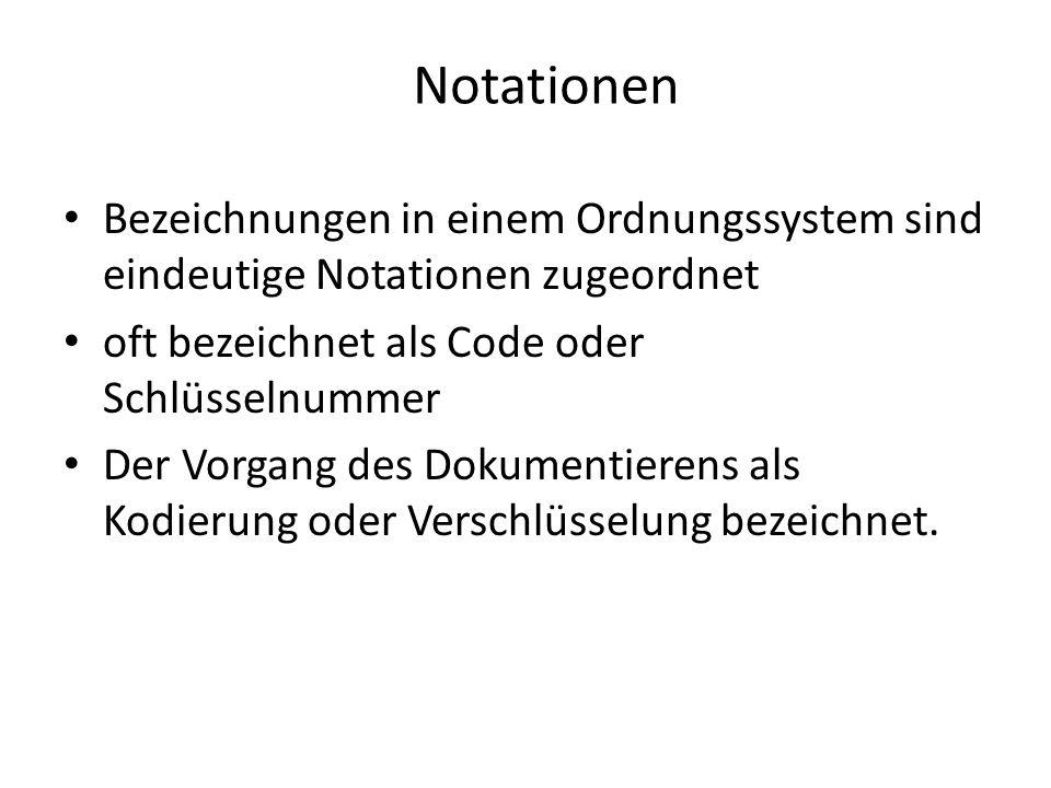 Notationen Bezeichnungen in einem Ordnungssystem sind eindeutige Notationen zugeordnet. oft bezeichnet als Code oder Schlüsselnummer.
