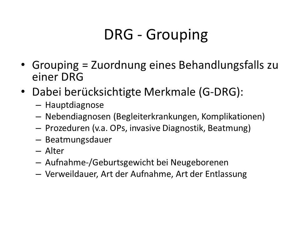 DRG - Grouping Grouping = Zuordnung eines Behandlungsfalls zu einer DRG. Dabei berücksichtigte Merkmale (G-DRG):