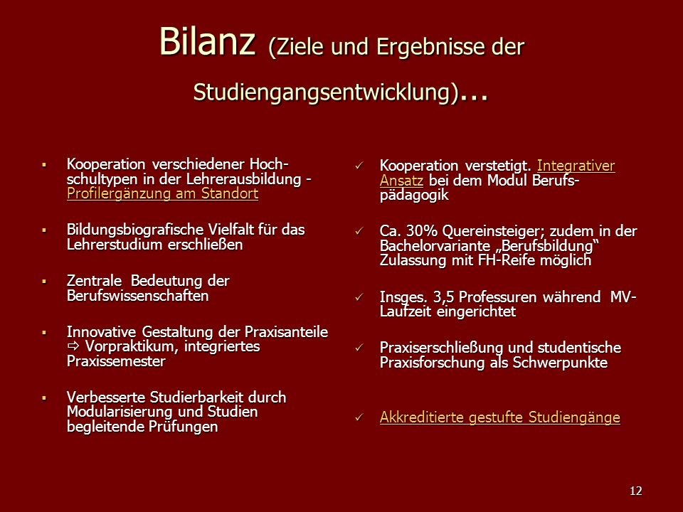 Bilanz (Ziele und Ergebnisse der Studiengangsentwicklung)…