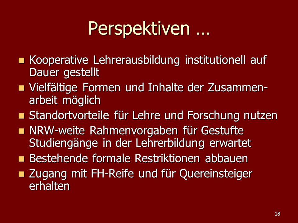 Perspektiven … Kooperative Lehrerausbildung institutionell auf Dauer gestellt. Vielfältige Formen und Inhalte der Zusammen-arbeit möglich.