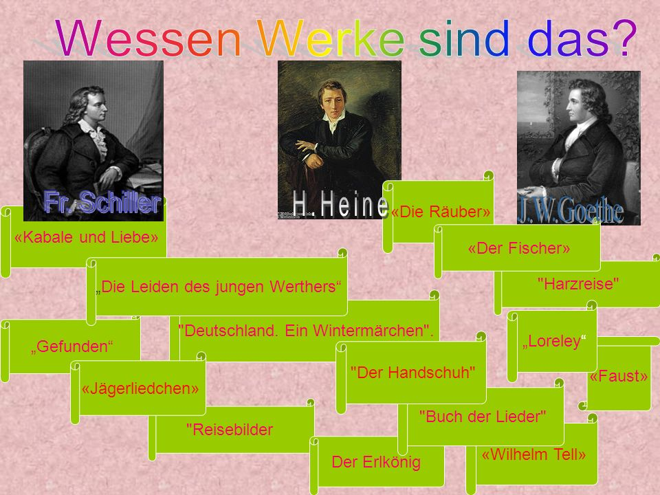 Wessen Werke sind das Fr. Schiller H.Heine J.W.Goethe «Die Räuber»
