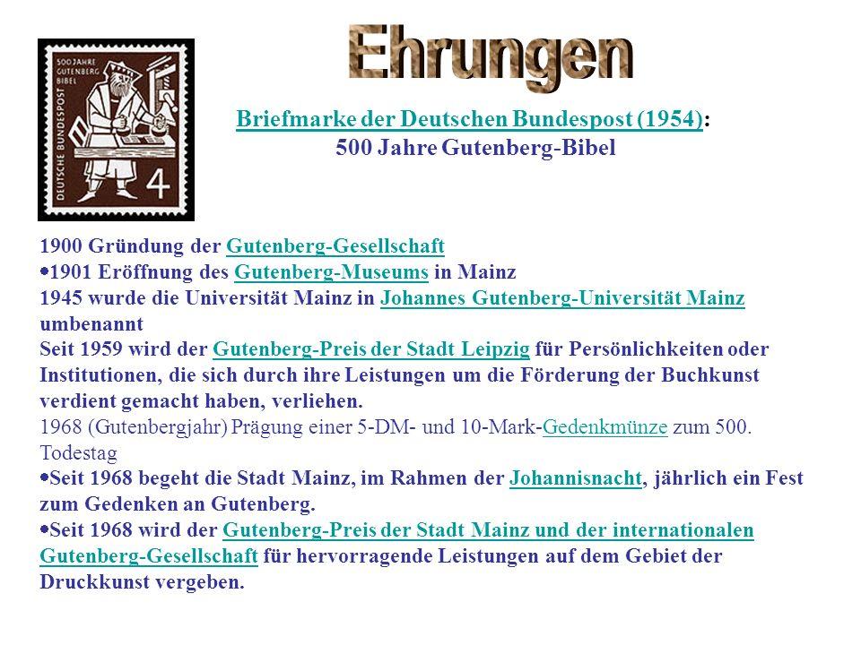 Briefmarke der Deutschen Bundespost (1954): 500 Jahre Gutenberg-Bibel