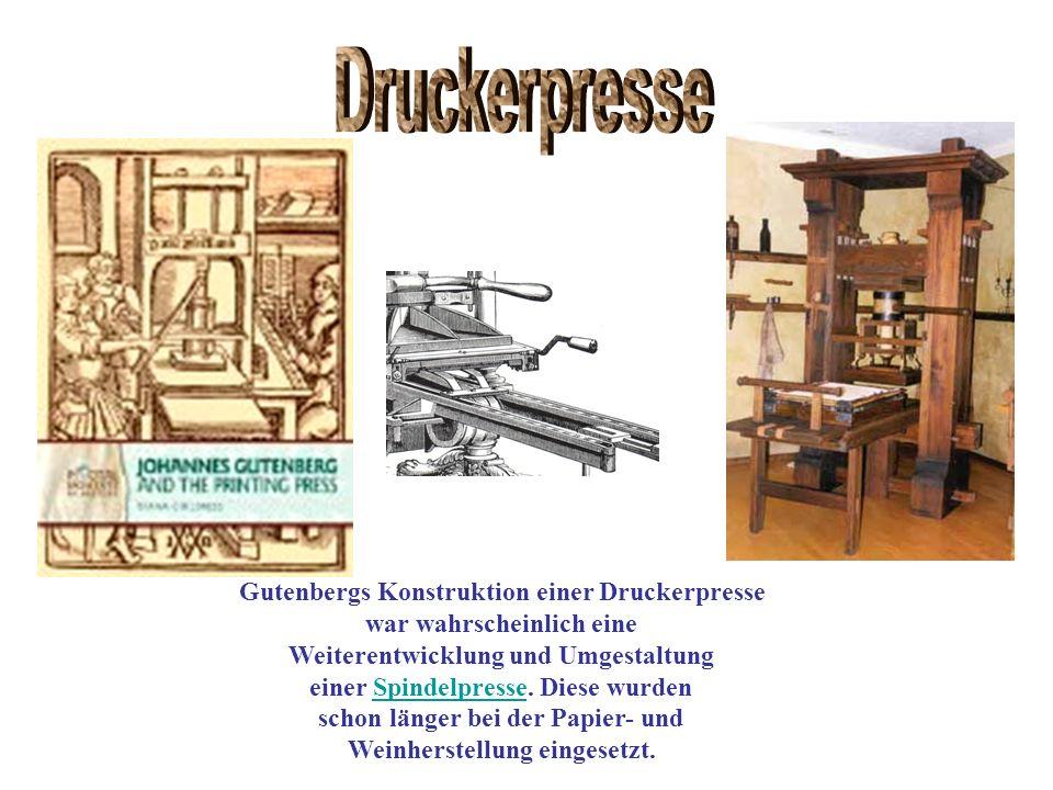 Druckerpresse Gutenbergs Konstruktion einer Druckerpresse