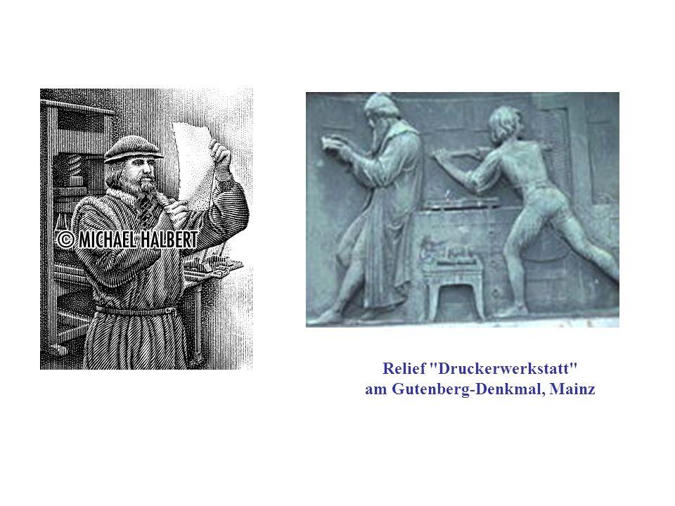 Relief Druckerwerkstatt am Gutenberg-Denkmal, Mainz