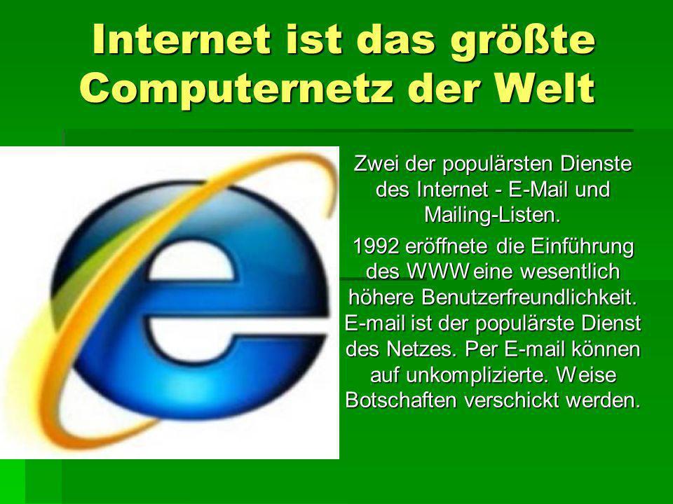 Internet ist das größte Computernetz der Welt
