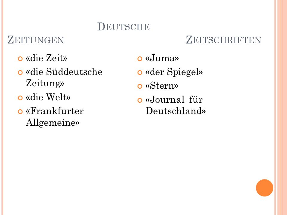 Deutsche Zeitungen Zeitschriften