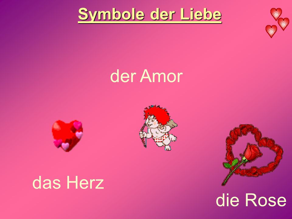 Symbole der Liebe der Amor das Herz die Rose