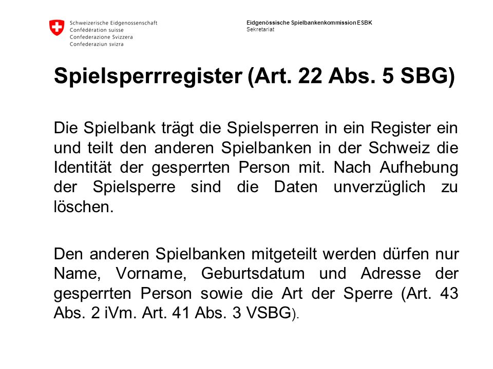 Spielsperrregister (Art. 22 Abs. 5 SBG)