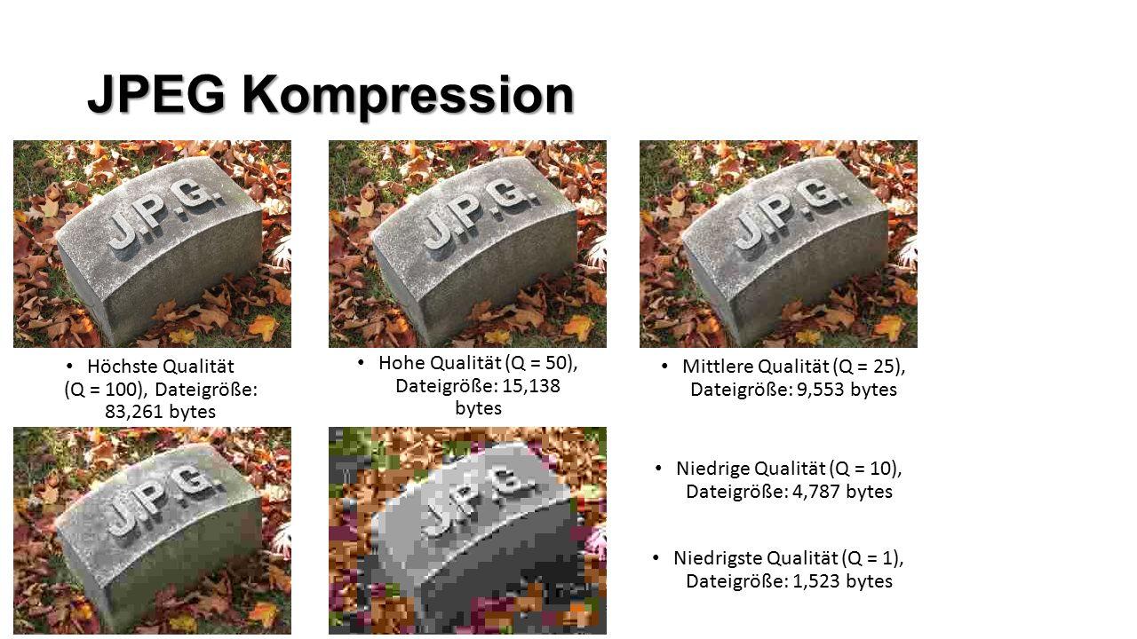 JPEG Kompression Höchste Qualität (Q = 100), Dateigröße: 83,261 bytes