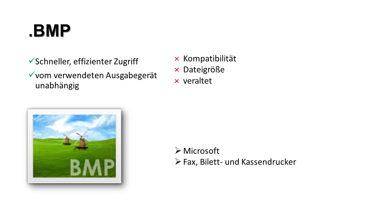 .BMP Kompatibilität Schneller, effizienter Zugriff Dateigröße