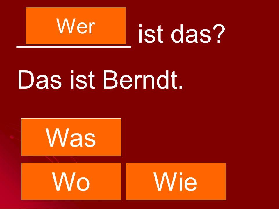 Wer ________ ist das Das ist Berndt. Was Wo Wie