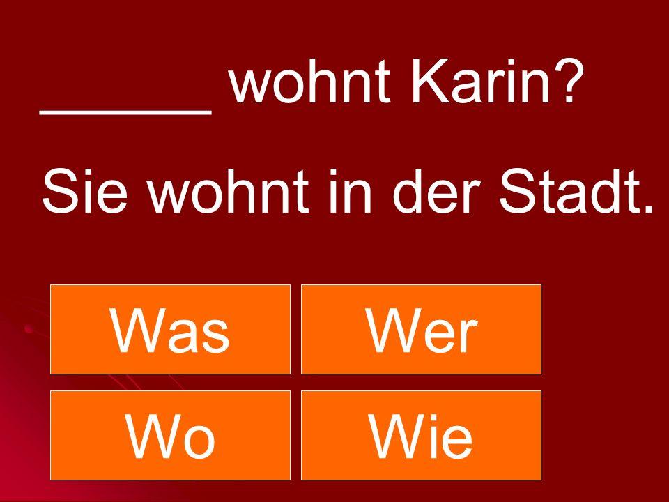 _____ wohnt Karin Sie wohnt in der Stadt. Was Wer Wo Wie